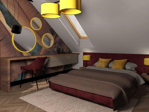 Projekt sypialni w odcieniach bordo i złota